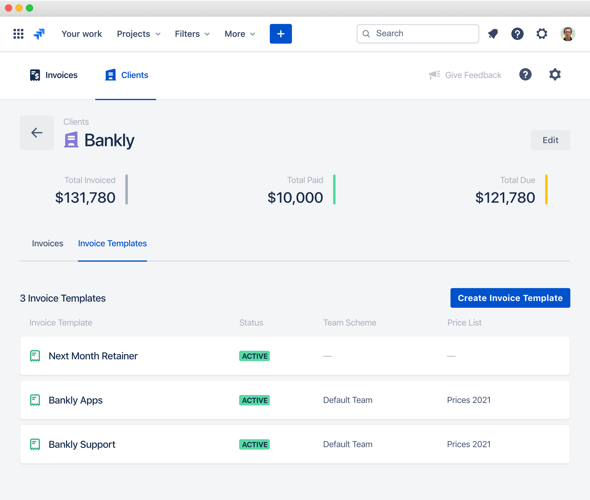 Invoice Templates — Clerk Invoices and Reports for Jira